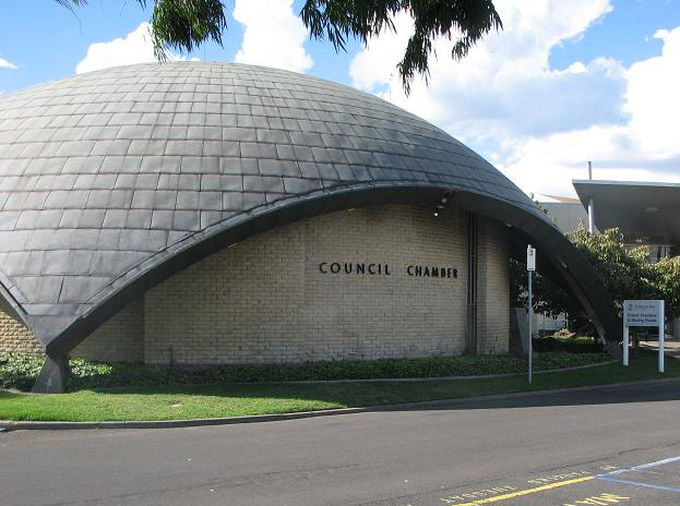 Domed council chamber of Altona Civic Centre (1961) (photograph by Simon Reeves, Built Heritage Pty Ltd)
